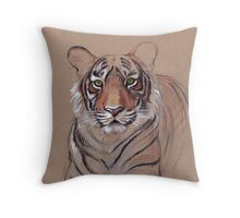 UNFINISHED BUSINESS - Original Tiger Drawing - Mixed Media (acrylic paint & pencil) Throw Pillow
