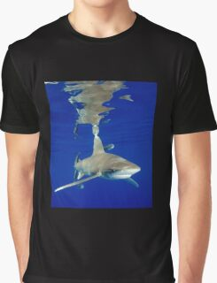 Oceanic White Tip Shark and Surface Reflections Graphic T-Shirt