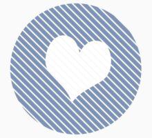 Striped heart light blue   Kids Tee