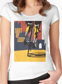 retro styled Tour de France cycling illustration poster print: SHUT UP LEGS Women's Fitted Scoop T-Shirt