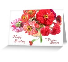 Bright Birthday Zinnia Bouquet for Someone Special Greeting Card