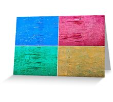 Photo collage of grunge wood painted texture backgrounds Greeting Card