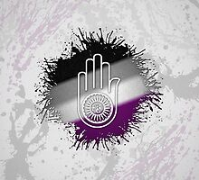 Asexual Pride Ahimsa Hand by LiveLoudGraphic