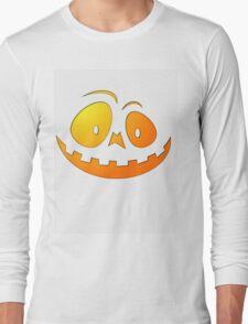 Cheeky Pumpkin Face on Ghost White Long Sleeve T-Shirt