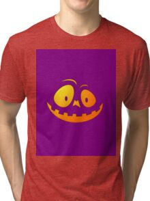 Cheeky Pumpkin Face on Dark Zombie Purple Tri-blend T-Shirt