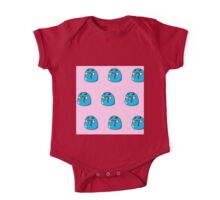 Cute, blue,cartoon, small monsters, pattern,on pink background One Piece - Short Sleeve