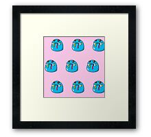 Cute, blue,cartoon, small monsters, pattern,on pink background Framed Print