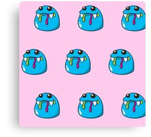 Cute, blue,cartoon, small monsters, pattern,on pink background Canvas Print