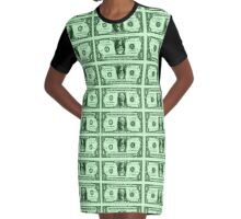 GEORGE WASHINGTON-DOLLAR BILLS Graphic T-Shirt Dress