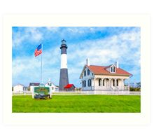 Lighthouse On Tybee Island Reaching Into Morning Skies Art Print