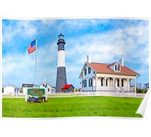 Lighthouse On Tybee Island Reaching Into Morning Skies Poster