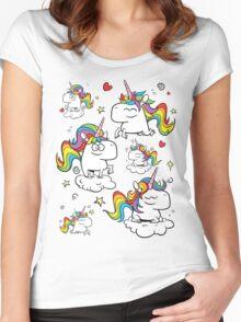 Rainbow Unicorns Women's Fitted Scoop T-Shirt
