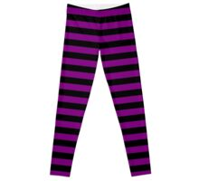 Zombie Purple and Black Horizontal Witch Stripes Leggings
