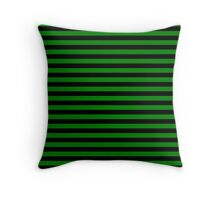 Alien Green and Black Horizontal Witch Stripes Throw Pillow
