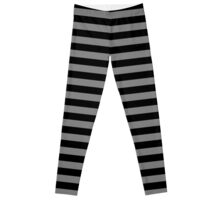 Tombstone Grey and Black Horizontal Witch Stripes Leggings