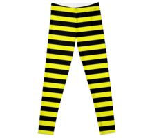 Cats Eye Yellow and Black Horizontal Witch Stripes Leggings