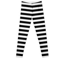 Ghost White and Black Horizontal Witch Stripes Leggings