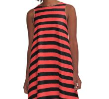 Donated Kidney Pink and Black Horizontal Witch Stripes A-Line Dress