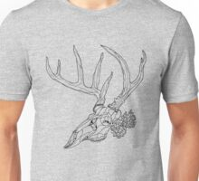 Whitetail Buck Skull with Pine Cones Unisex T-Shirt