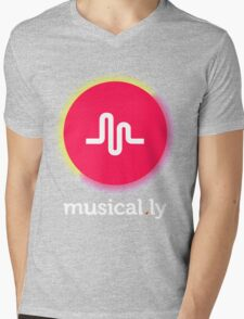 New Retro Musical.ly Logo Mens V-Neck T-Shirt