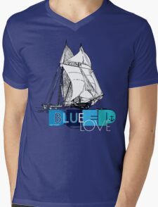 Deep Blue Ocean Love Sailing Design Mens V-Neck T-Shirt