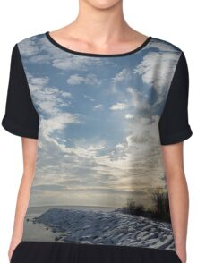 Brilliant Sunshine After the Snowstorm – a Winter Beach on Lake Ontario Chiffon Top