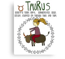 Children's Zodiac - Taurus Girl Canvas Print