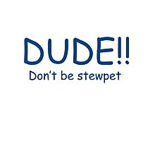 Dude dont be stewpet Photographic Print