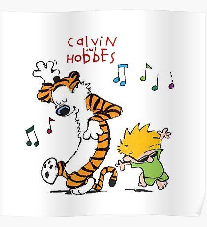 Calvin and Hobbes Dancing Poster