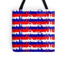 London UK Repeating Skyline on Red White and Blue Union Jack Colored Stripes Tote Bag
