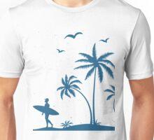 Beautiful Surfer Boy on the beach at sunset Unisex T-Shirt