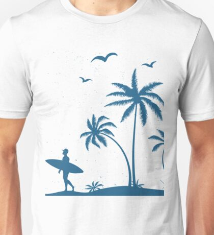 Beautiful Surfer Boy on the beach at sunset Unisex T-Shirt