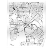 Perth Map, Australia - Black and White Poster