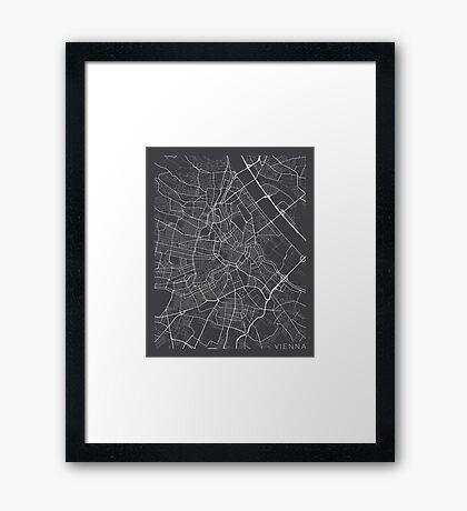 Vienna Map, Austria - Gray  Framed Print