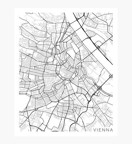 Vienna Map, Austria - Black and White Photographic Print