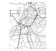 Antwerp Map, Belgium - Black and White Photographic Print