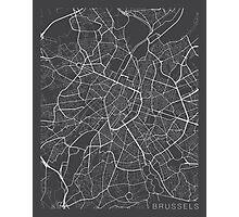 Brussels Map, Belgium - Gray Photographic Print