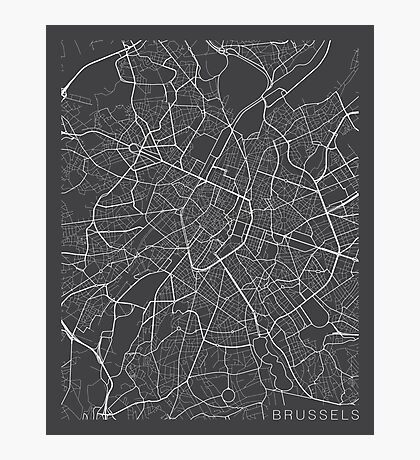 Brussels Map, Belgium - Gray Photographic Print