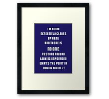 Extremely Clever DOCTOR WHO - White font Framed Print
