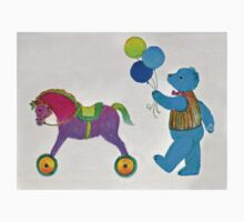 Balloon Bear and Horse in Pink and Blue One Piece - Long Sleeve