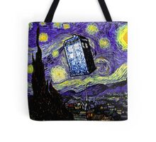 The Tardis in the Starry Night Tote Bag