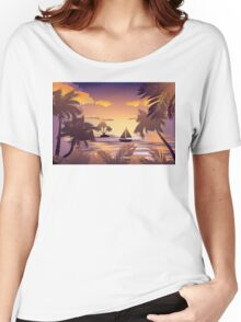 Tropical Island at Sunset Women's Relaxed Fit T-Shirt