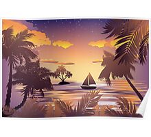 Tropical Island at Sunset Poster