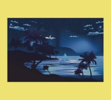 Tropical Island at Night 2 One Piece - Short Sleeve