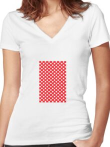 polkadot red Women's Fitted V-Neck T-Shirt