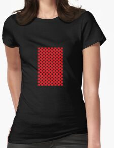 polkadot red Womens Fitted T-Shirt