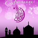 Eid Mubarak Pink Blend With Bokeh Lights And Silhouette Mosque by Moonlake
