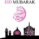 Feminine Eid Greeting with Silhouette Mosque by Moonlake