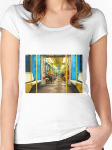 Subway carriage in Milano, Italy Women's Fitted Scoop T-Shirt