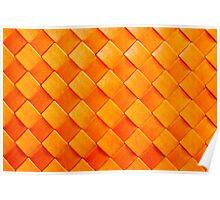 Orange squares, 3D textured background Poster